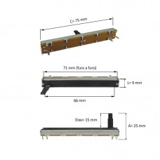 Potenciometro slide 60 mm curso mesa de som